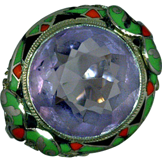 Amethyst Art Deco Ring Sterling Silver Filigree Enamel Red Green Black 1920-1930 Size 7 1/4