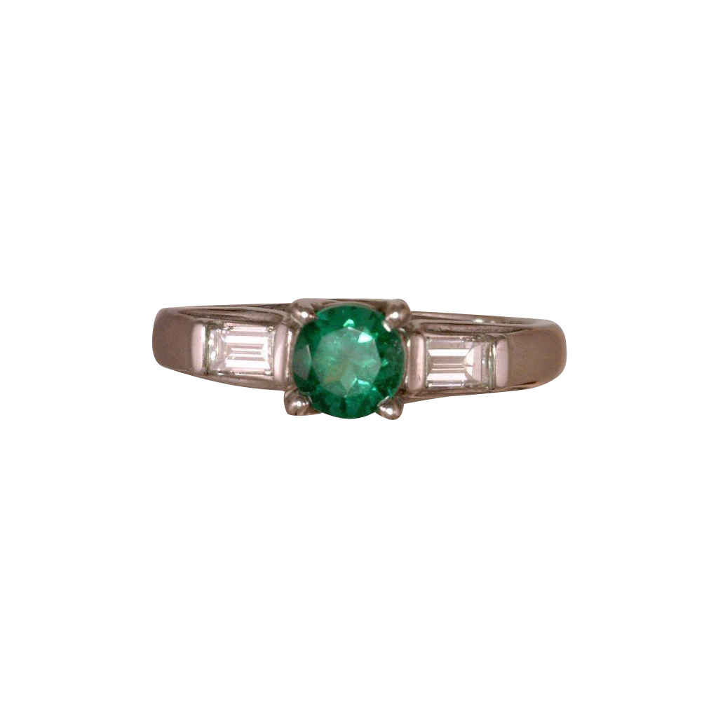 Emerald and 2 Diamond Ring Trellis Style Setting Round 0.47 Carat Emerald Flanked By 0.20 Tcw Emerald-Cut Diamonds 14K White Gold Size 6.25
