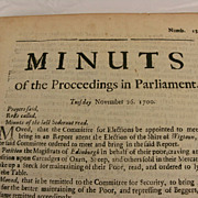 """Scottish Document Dated 1700 : """"Minuts of the Proceedings in Parliament"""""""