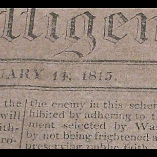 Original Jefferson Library, Monticello, 1815 Newspaper
