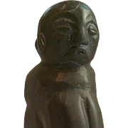 Large Inuit carving of kneeling woman