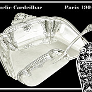 TWO WEEK SALE! Marie-Amelie Cardeilhac: A Pair of Solid French Sterling Silver Crumb Trays with Mascarons 1900.