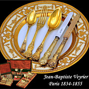 MARCH SALE ONLY!  Veyrier: Spectacular 102 PC French Sterling Vermeil Flatware Service