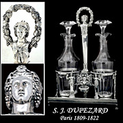 Spring Sale!  Dupezard: 1809 French Sterling Silver Cruet Set Original Blown Glass Oil & Vinegar Cruets