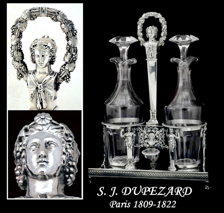Sale!  Dupezard: 1809 Stunning Figural French Sterling Silver Cruet Set Original Blown Glass Oil & Vinegar Cruets
