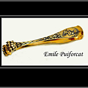 Emile Puiforcat: Antique Sterling Silver Vermeil Art Nouveau Tongs