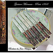MARMUSE: Antique French Silver & Kozuka Knife Set for 6 Royal Provenance