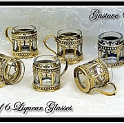 GUSTAVE ODIOT: Set 6 Sterling Vermeil Mounted Crystal Liqueur Glasses