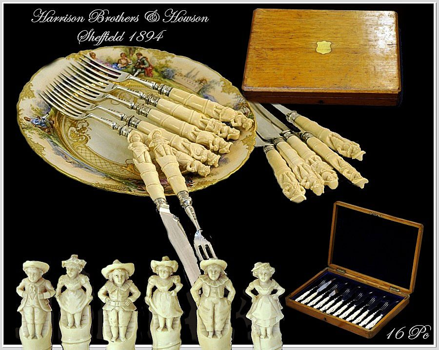 HARRISON BROTHERS & HOWSON: Sheffield Figural Sterling Dessert Set 1894