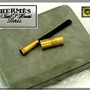 MARCH ONLY SALE! HERMES : 18k Gold & Shell Cigarette Holder, Lighter, Original Box