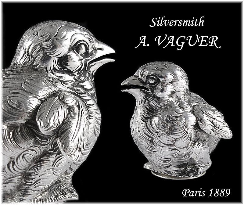 VAGUER : Antique French Sterling Silver Figural Bird Salt Cellar