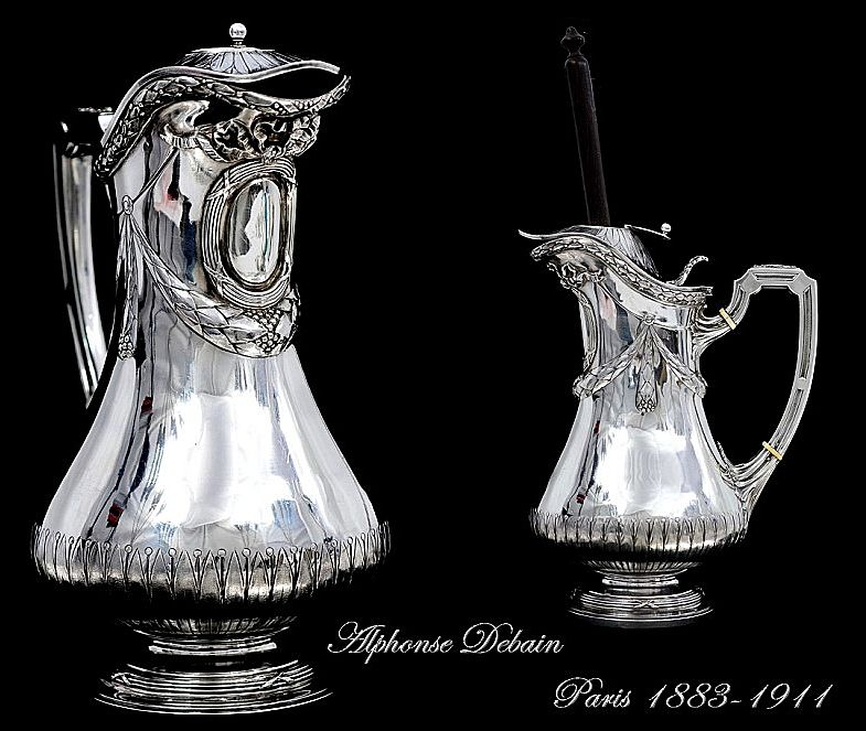 DEBAIN : Unique Antique French Sterling Silver Chocolate Pot Louis XVI Style,  Moussoir
