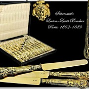 BOUCLIER : Antique French Vermeil Silver Knife Set Neo-Renaissance Style Mascarons