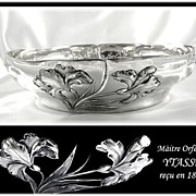 YTASSE : Antique French Art Nouveau Sterling Silver 'IRIS' Serving Bowl / Dish