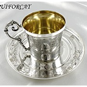 PUIFORCAT : Antique French Sterling & Vermeil Japanisme Cup & Saucer