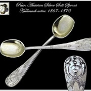 MARCH SALE! Pair: Antique Austrian Salt Spoon Set Mascarons Palmettos