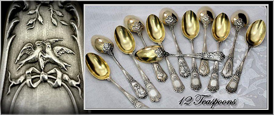 PUIFORCAT : Unique Antique French Sterling & Vermeil 12pc Dessert Spoon Set -  Courtship Themes