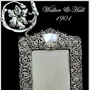 SPRING SALE! Walker & Hall: Antique Sheffield Sterling Silver Vanity Mirror 1901