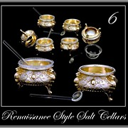 Antique Silver Vermeil Salt Cellar Set 6: Renaissance Style