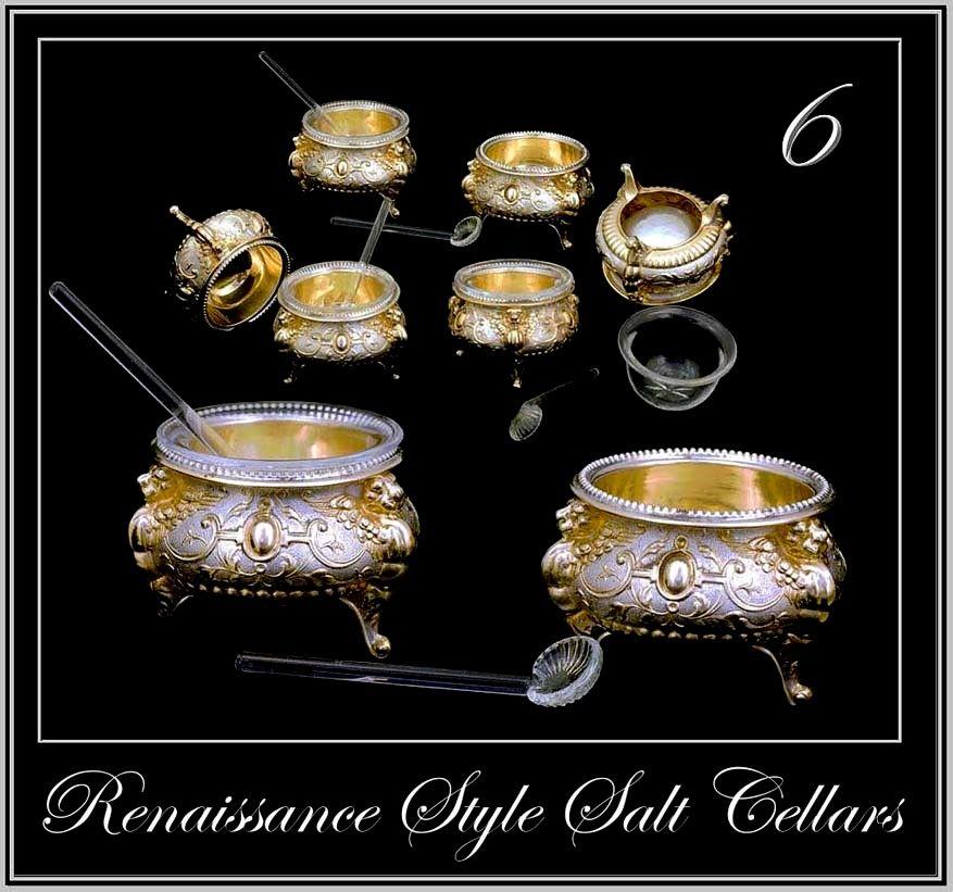 Antique Silver Vermeil Salt Cellar Set 6: Renaissance Style