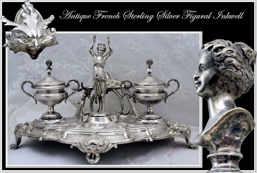 RARE: Antique French Sterling Silver Double Inkwell Figural Mascarons