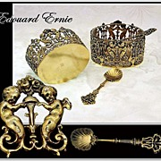 Edouard ERNIE: Pair Renaissance Antique Vermeil Sterling Silver Open Salt Cellars with Spoons