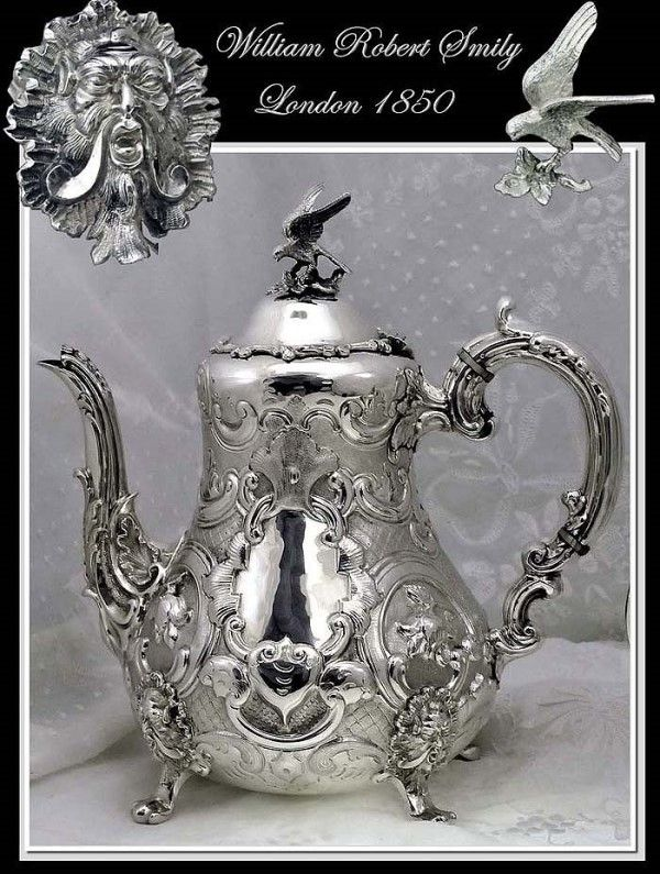 Smily: Antique Sterling Silver Coffee Pot Mascarons Circa 1850