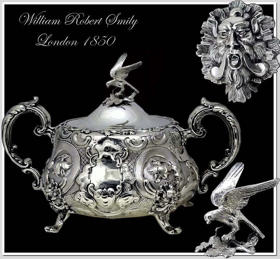 Smily: Good Antique Sterling Silver  Lidded Sugar Mascarons!