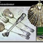 BONNESCOEUR: Antique French Silver Vermeil Hors d'-Oeuvres Set Boxed!