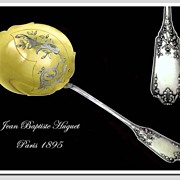 HUGUET: Antique French Sterling Silver Vermeil Berry Spoon Fitted Box