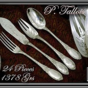 MARCH SALE! TALLOIS : Sublime Antique French Sterling Silver Dinner Flatware Set - 24 Pieces