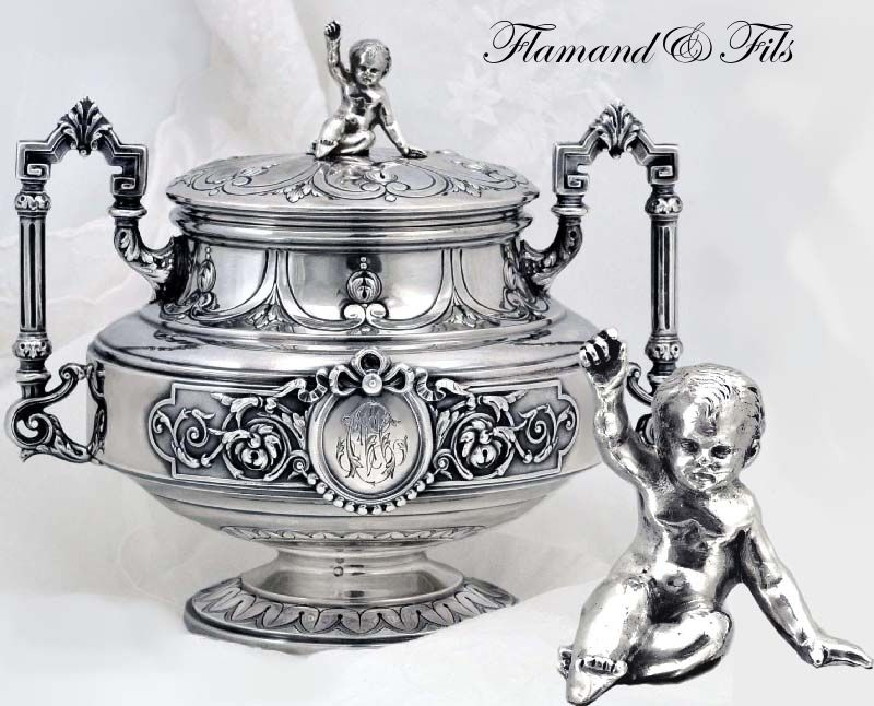 Flamand & Fils: Fine Antique Sterling Silver Sugar Bowl Lid w Baby Top Knop