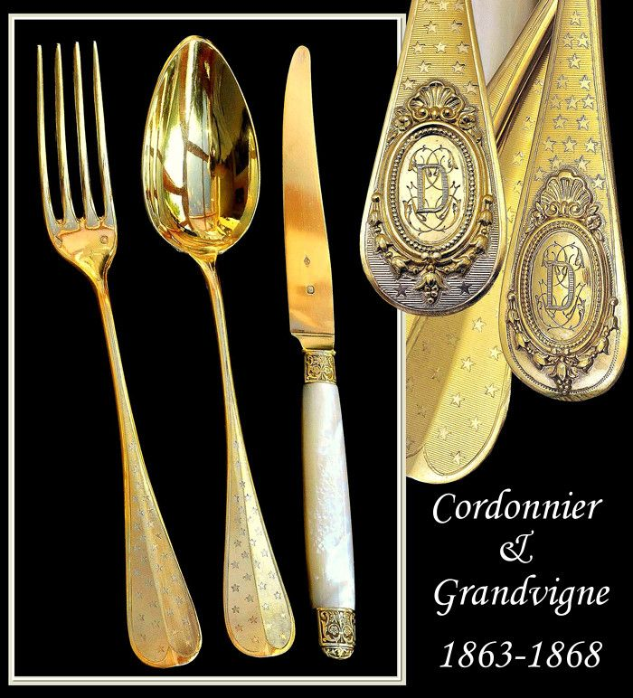 Cordonnier & Grandvigne: 36 PC French Sterling Vermeil Flatware Set