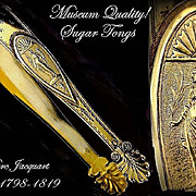 SPRING SALE! JACQUART : 1798 Museum Quality Antique French Empire Vermeil Sterling Sugar Tongs
