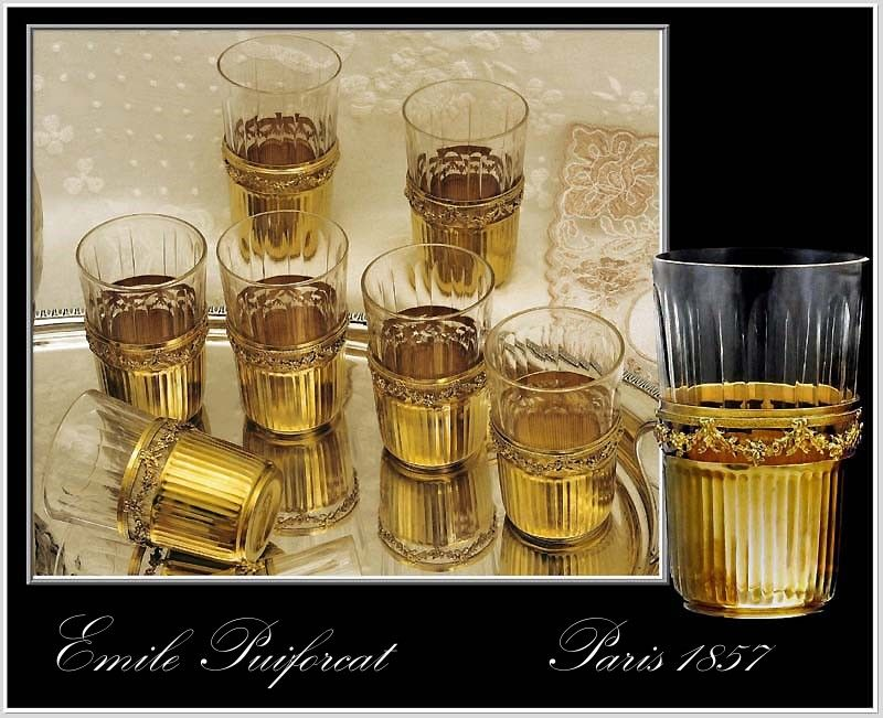 Emile Puiforcat: Antique French Sterling Silver vermeil & Crystal Shot Glass Set of 10