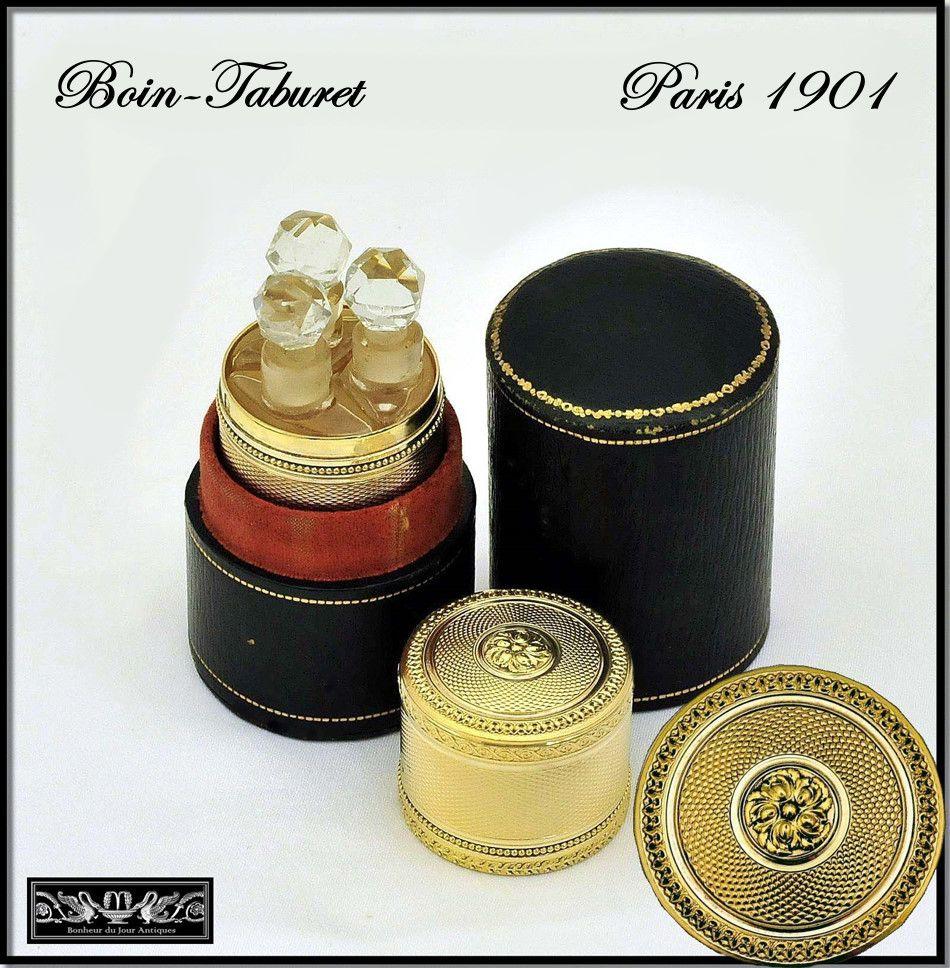 Boin-Taburet: Antique French Sterling Silver Vermeil Perfume Caddy w Case