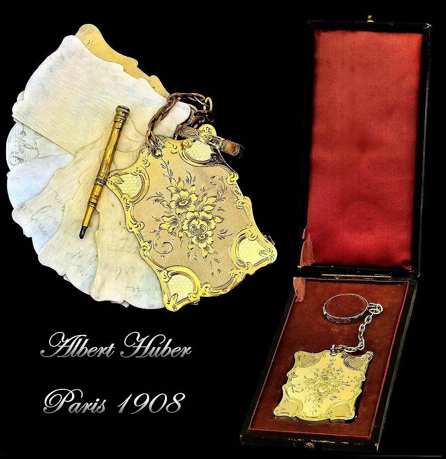 Albert Huber: Antique French Silver Vermeil Carnet du Bal Complete w Presentation Box