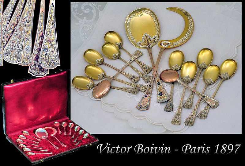 Victor BOIVIN: Antique French Sterling Silver Vermeil Dessert Flatware Set, Original Box