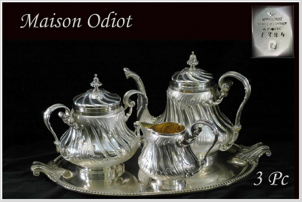 ODIOT: Prestigious Antique French Sterling Louis XV Tea Pot, Cream & Sugar Set