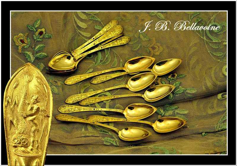 BELLAVOINE: 12 Antique French Vermeil Sterling Spoons Renaissance Style 1819-1838