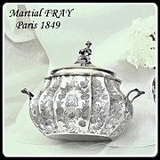 Martial FRAY: Rarest Chinoiserie Sterling Lidded Sugar Bowl France 1849