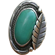 Large Native American Green Turquoise Sterling Silver Ring