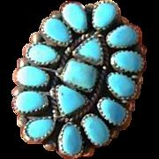 Zuni Turquoise Cluster Ring HUGE Jack  Weekoty Size 8 1/2