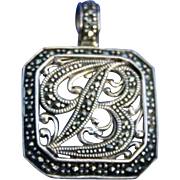 "Large Sterling Silver Marcasite Initial ""B"" Enhancer Pendant"