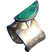 Peru Chrysocolla Sterling Silver Mid Century Modern Signed Ring