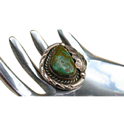 Organic Bold Green Turquoise Native American Sterling Silver Ring