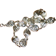 Danecraft Sterling Silver Stylized Shell Necklace 50's