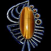 Taxco Mexico Mexican Tono Cecilio Sterling Silver Mod Pendant Brooch