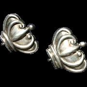 Margot De Taxco Mexico Lovely Crown Earrings Sterling Silver