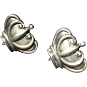 Margot De Taxco Mexico Lovely Crown Earrings Sterling Silver